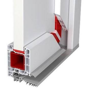 Примет пластиковой двери с сандвич панелью. Армирование металл красным. И профиль в разрезе.